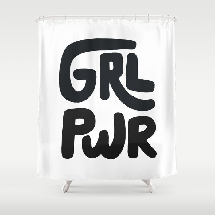 Grl Pwr black and white Shower Curtain