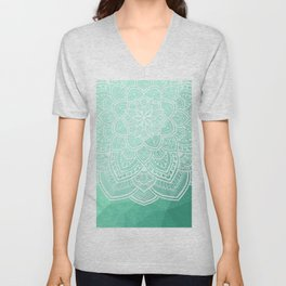 Mandala Green Unisex V-Neck