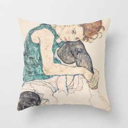 SEATED WOMAN WITH BENT KNEE - EGON SCHIELE Throw Pillow