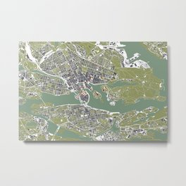 Stockholm city map engraving Metal Print