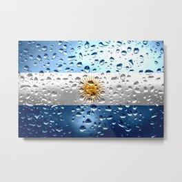 Flag of Argentina - Raindrops Metal Print