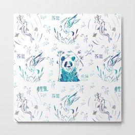 Cute teal chinese koi fish panda bird floral typography Metal Print