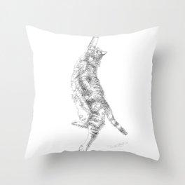 Mocha, the cat - streching Throw Pillow