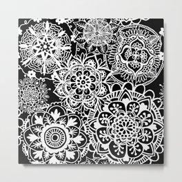 Black and White Mandala Pattern Metal Print