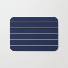 Navy Blue Bar Stripe Line Minimal Stripes Lines Bath Mat