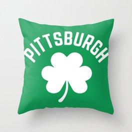 Pittsburgh Shamrock St Patricks Day Irish Green Pennsylvania Pride Throw Pillow