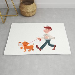 A man walking with his dog Rug