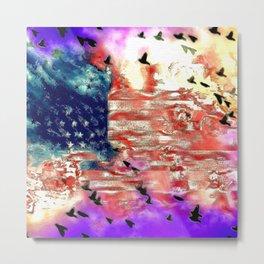 The American Flag Painted Metal Print