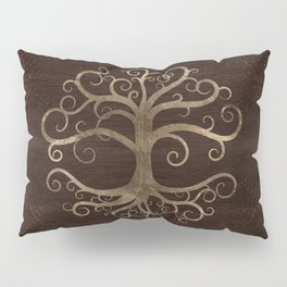 Tree of life Gold on Wooden Texture Pillow Sham
