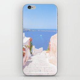 Santorini Greece Mamma Mia pink street travel photography iPhone Skin