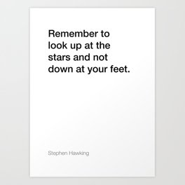 Stephen Hawking quote about stars [White Edition] Art Print