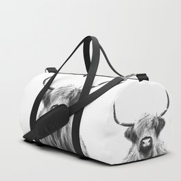 Black and White Highland Cow Portrait Duffle Bag