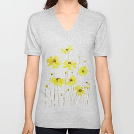 yellow cosmos flowers watercolor Unisex V-Neck