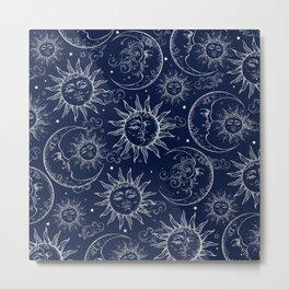 Blue Magic Celestial Sun Moon Stars Metal Print