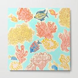 Ocean Coral teal Metal Print