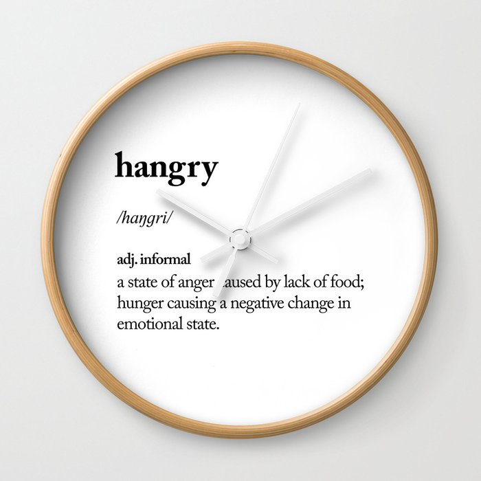 Hangry Black And White Contemporary Minimalism Typography Design Home Wall Decor Bedroom Wall Clock By Themotivatedtype Society6