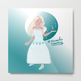 Elsa princess with Butterfly Metal Print