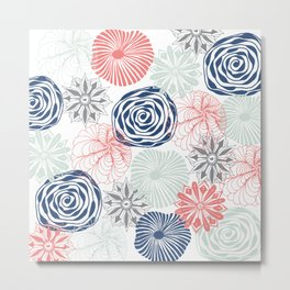 Floral Pattern in Coral Red, Navy Blue and Aqua Metal Print