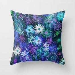 Eden Floral Blue Throw Pillow