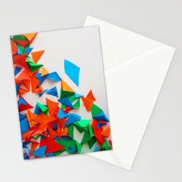 multi-colored leaflets which are cut out from paper, colourful background, collage Stationery Cards