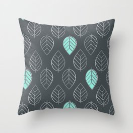 Mint & Silver Leaves Pattern & Slate Throw Pillow