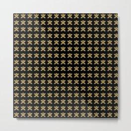 Digital Rendering of Pre-Columbian Pectoral Pattern in Gold Leaf on Black Metal Print