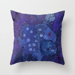 Fish Family in Seaweed, Blue & Violet Throw Pillow
