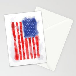 Watercolor American Flag for Veterans and Patriots Stationery Cards