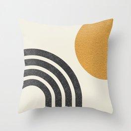 Mid century modern Sun & Rainbow Throw Pillow