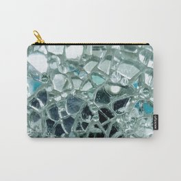 Icy Blue Mirror and Glass Mosaic Carry-All Pouch