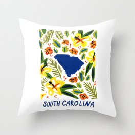 South Carolina + Florals Throw Pillow