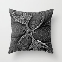 Black and White Fractal Pattern Throw Pillow
