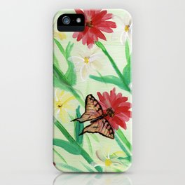 Daisies Butterflies Katydid Red Green and White iPhone Case