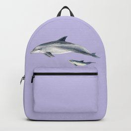Bottlenose dolphin purple background Backpack