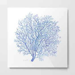 Navy Blue Coral Sea Fan #2 Metal Print