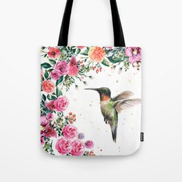 Hummingbird and Flowers Watercolor Animals Tote Bag