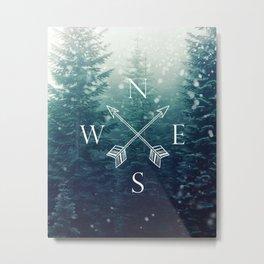 Arrow Compass in the Winter Woods Metal Print