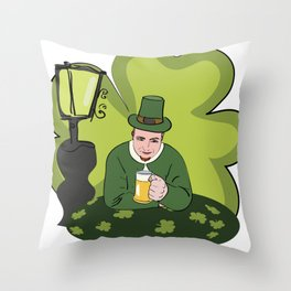 St Patricks Day Man with Beer Throw Pillow