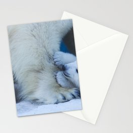 Bear cub plays with mom's paw polar bear. Funny animal close-up. Stationery Cards