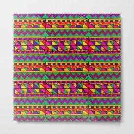 Latin American Pattern. Zigzag Squares Triangle Patterns. Colourful Pattern. Latin America. Funky Metal Print
