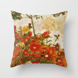 Egon Schiele Field of Flowers 1910 Throw Pillow
