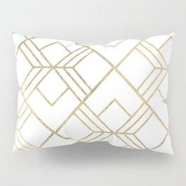 Geometrical white faux gold elegant stylish diamonds Pillow Sham