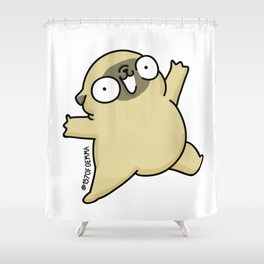 Mochi the pug jumping yay! Shower Curtain