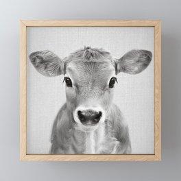 Calf - Black & White Framed Mini Art Print