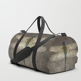 Dragonfly On Distressed Metallic Grey Background Duffle Bag