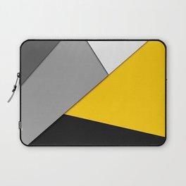 Simple Modern Gray Yellow and Black Geometric Laptop Sleeve