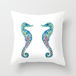 Six Blue Seahorses in Colorful Hippocampus Style Throw Pillow