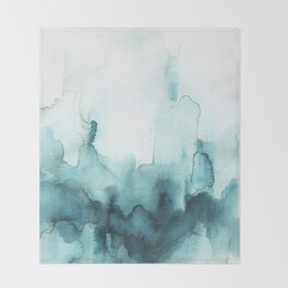 Soft teal abstract watercolor Throw Blanket