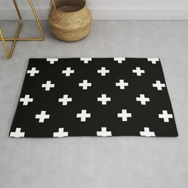 Swiss cross pattern white on black Rug