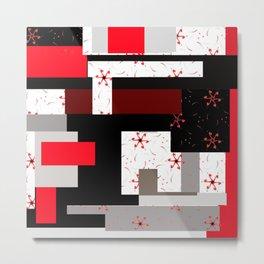 red grey black white floral geometric digital art Metal Print